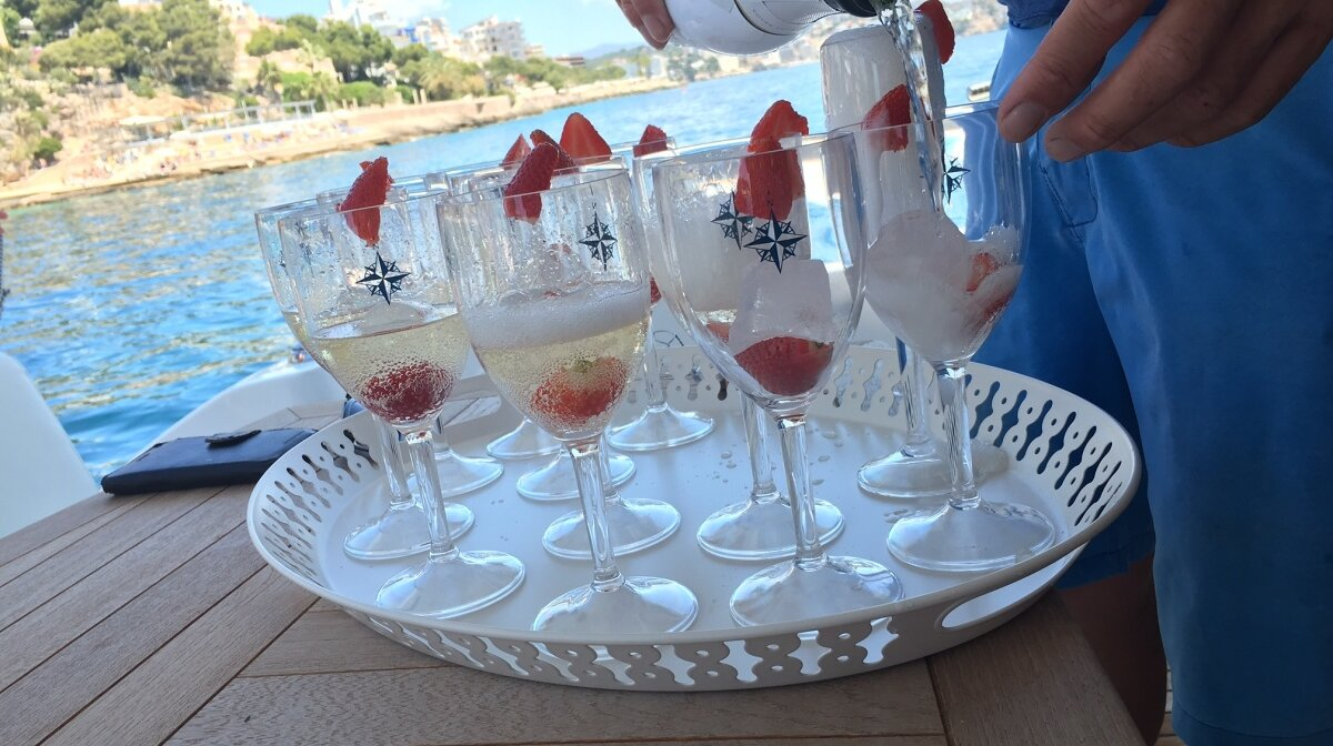 Champagne onboard a yacht in Mallorca