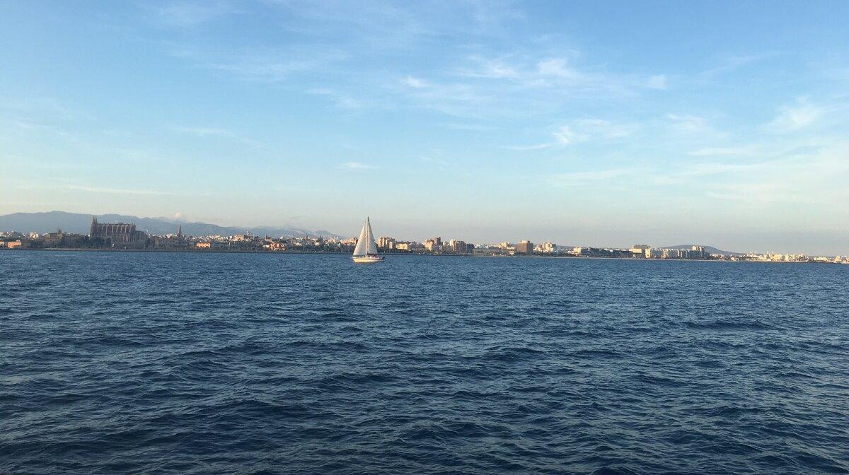 Palma skyline from on board a yacht in mallorca