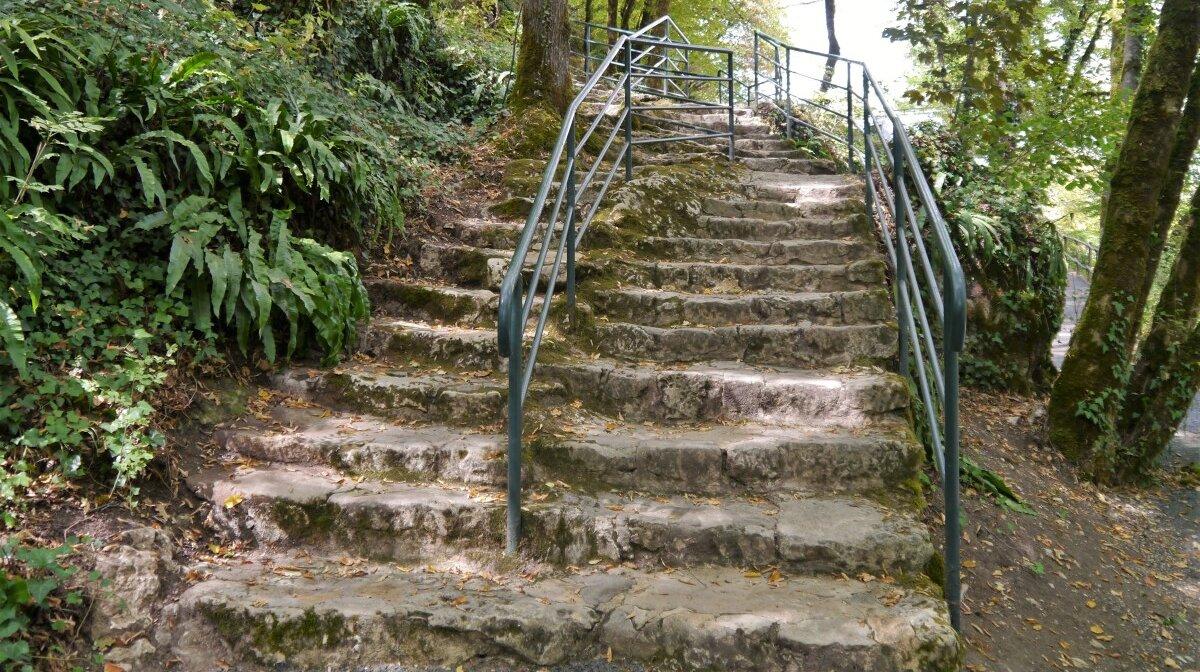 steps up to the main entrance of la roque saint christophe