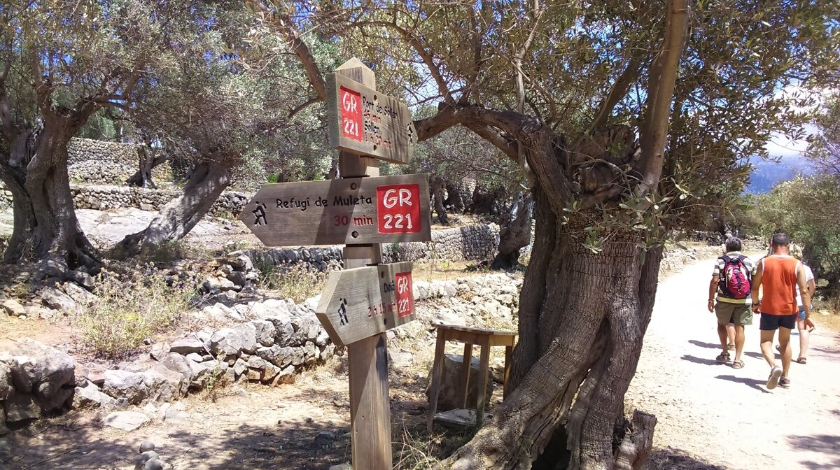 Signposts for the gr 221 in mallorca