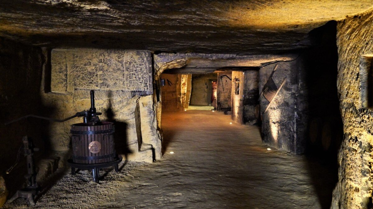 Monolithic caves of chateau rochebelle winery in st emilion