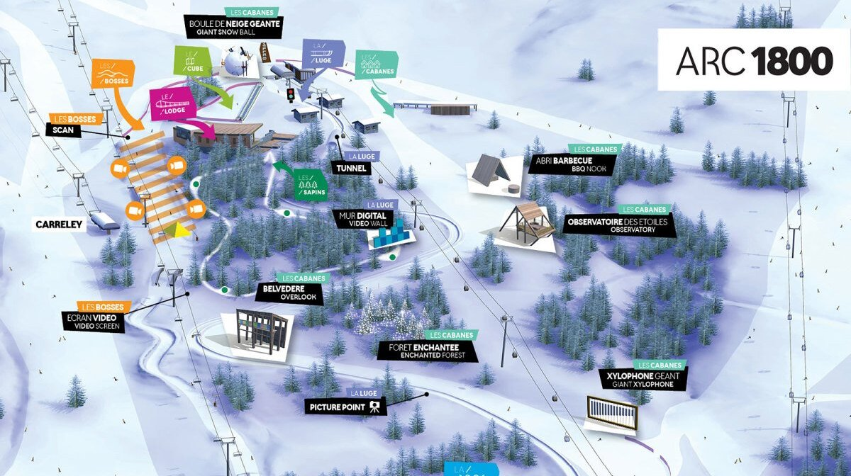 a plan of Mille 8 leisure zone in les arcs