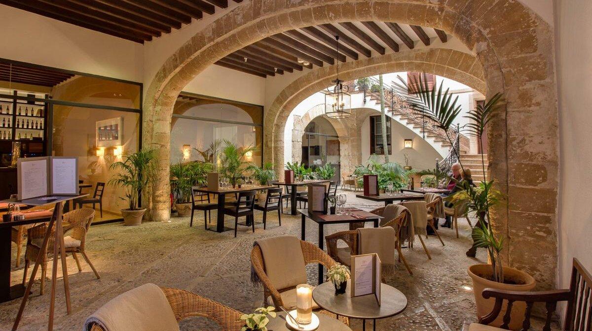 Teh courtyard of can cera boutique hotel mallorca