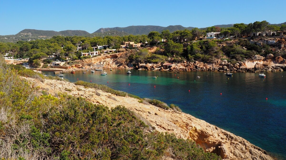 a view of the cla corral bay in south west ibiza