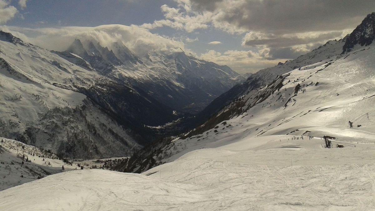 the chamonix valley seen from le tour in winter