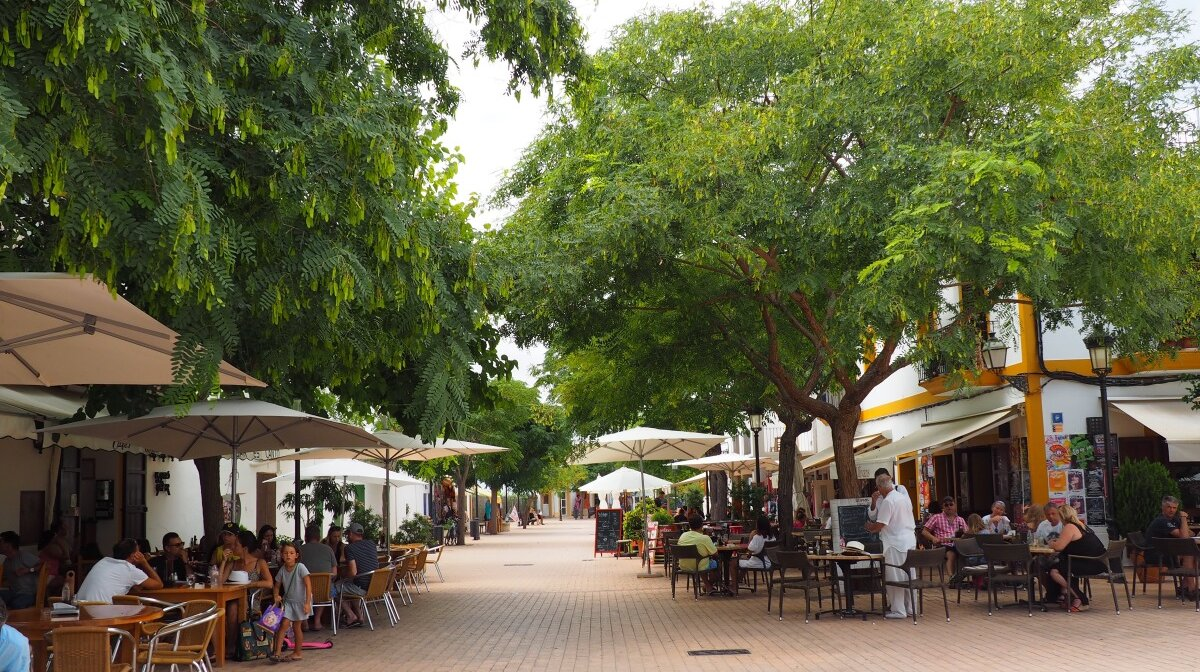 Tree-lined streets and squares in santa gertrudis ibiza