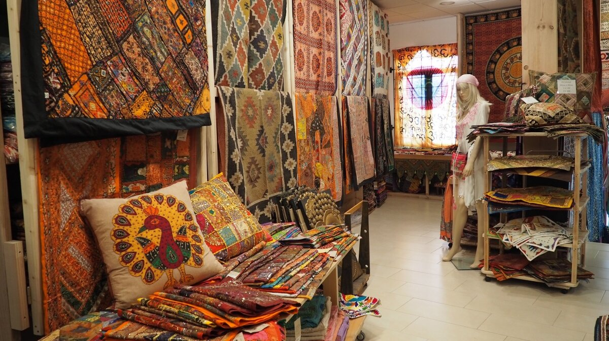 interior of a shop with lots of indian style interior furnishings in santa gertrudis ibiza