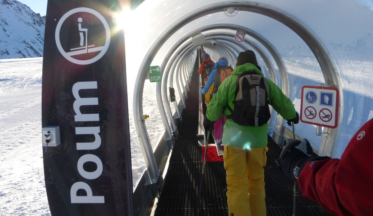 tube tunnel to carry skiers