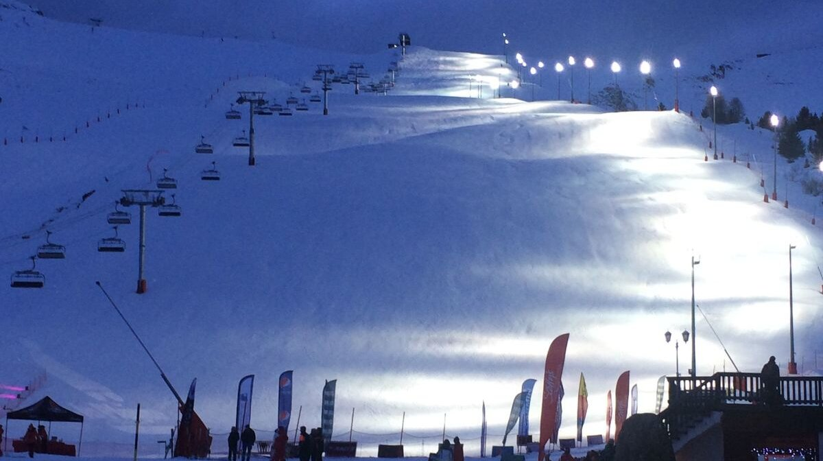 night skiing at la plagne ski resort