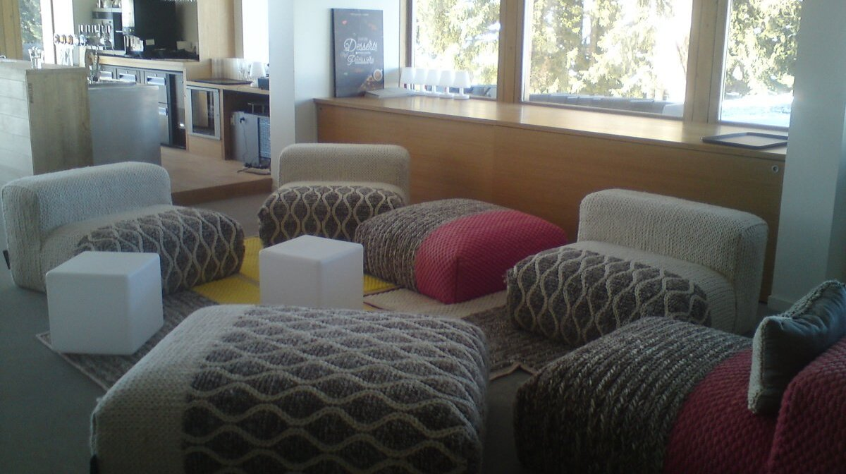 a comfy seating area in a les arcs restaurant