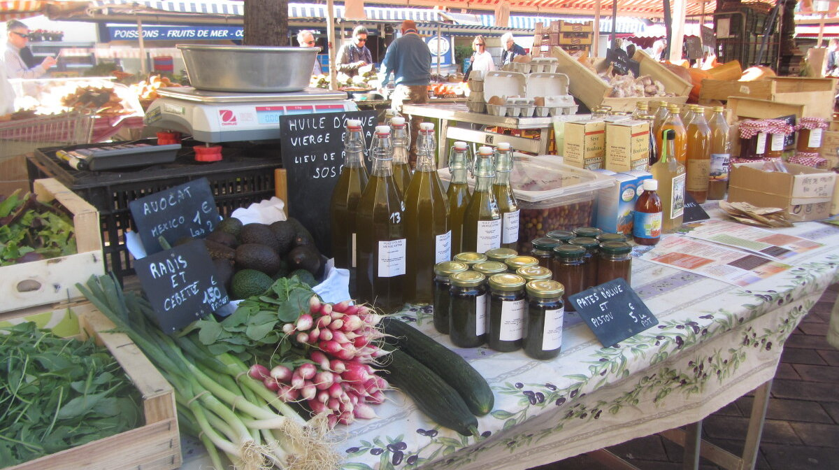 Locally produced oils and pistou in nice market