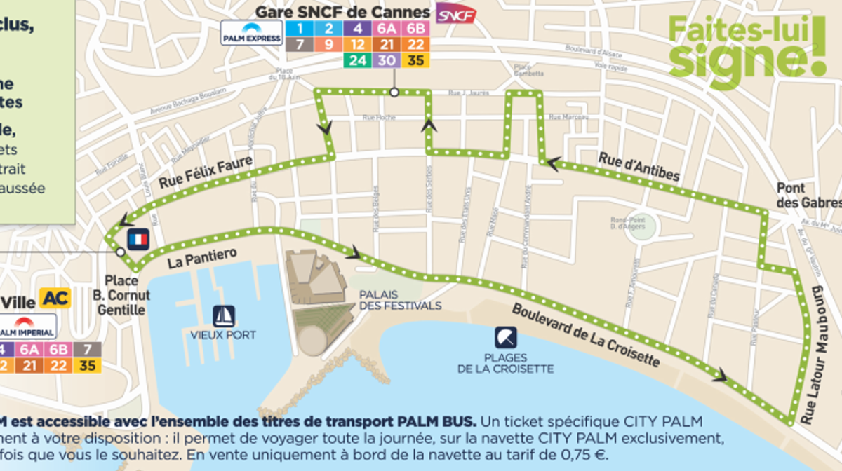 map of the shuttle route around cannes by Palm bus