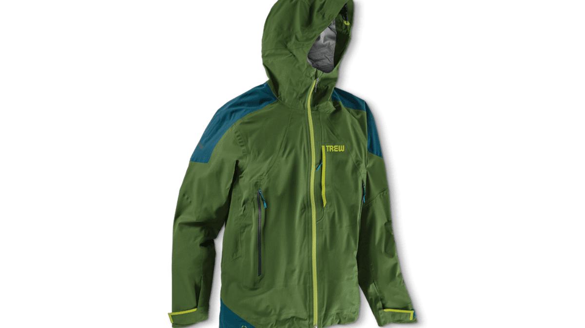 a green waterproof jacket