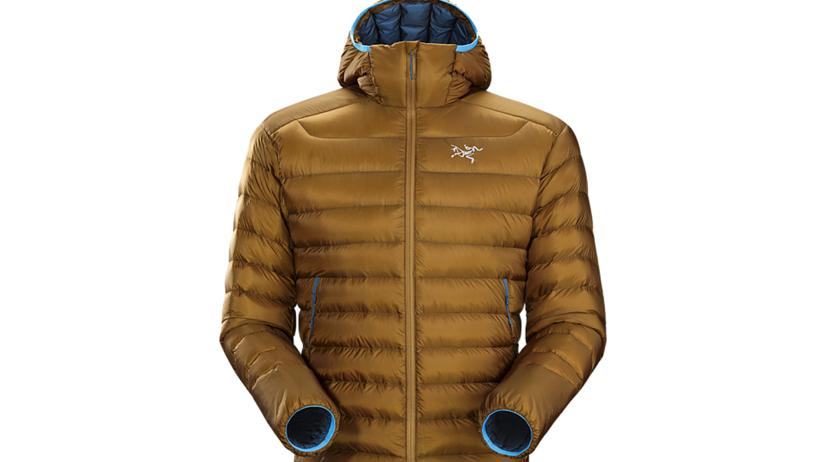 a down jacket with a hood