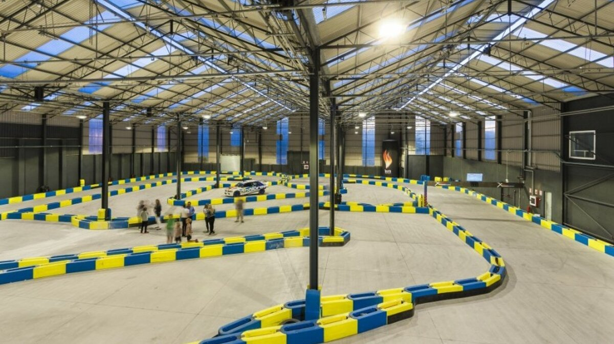 an indoor karting track at the festival park outlets shopping centre mallorca