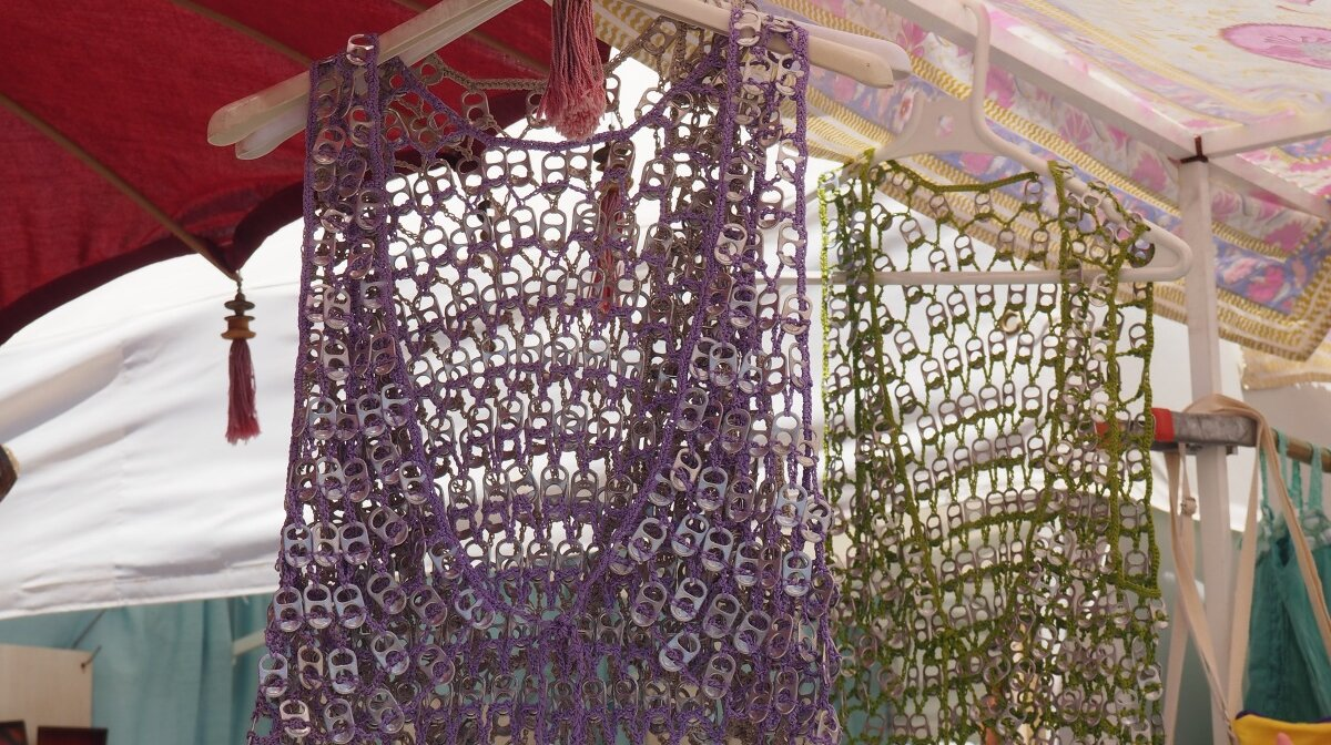 tops made from ring pulls on a market stall at las dalias in ibiza