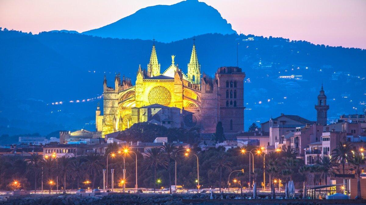 Palma cathedral at dusk mallorca