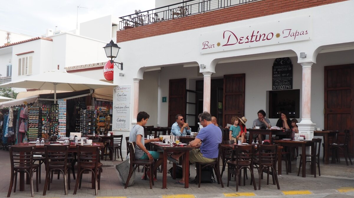 a cafe and roadside terrace in sant josep in south west ibiza