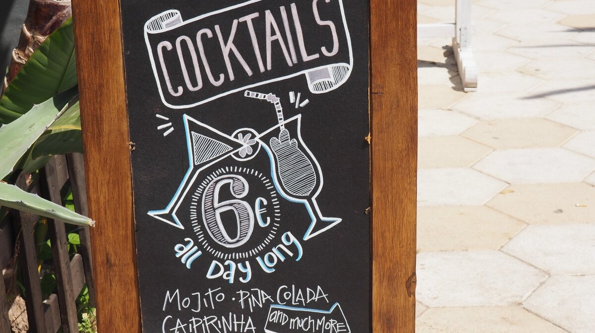 cocktails at figueretes beach near ibiza town