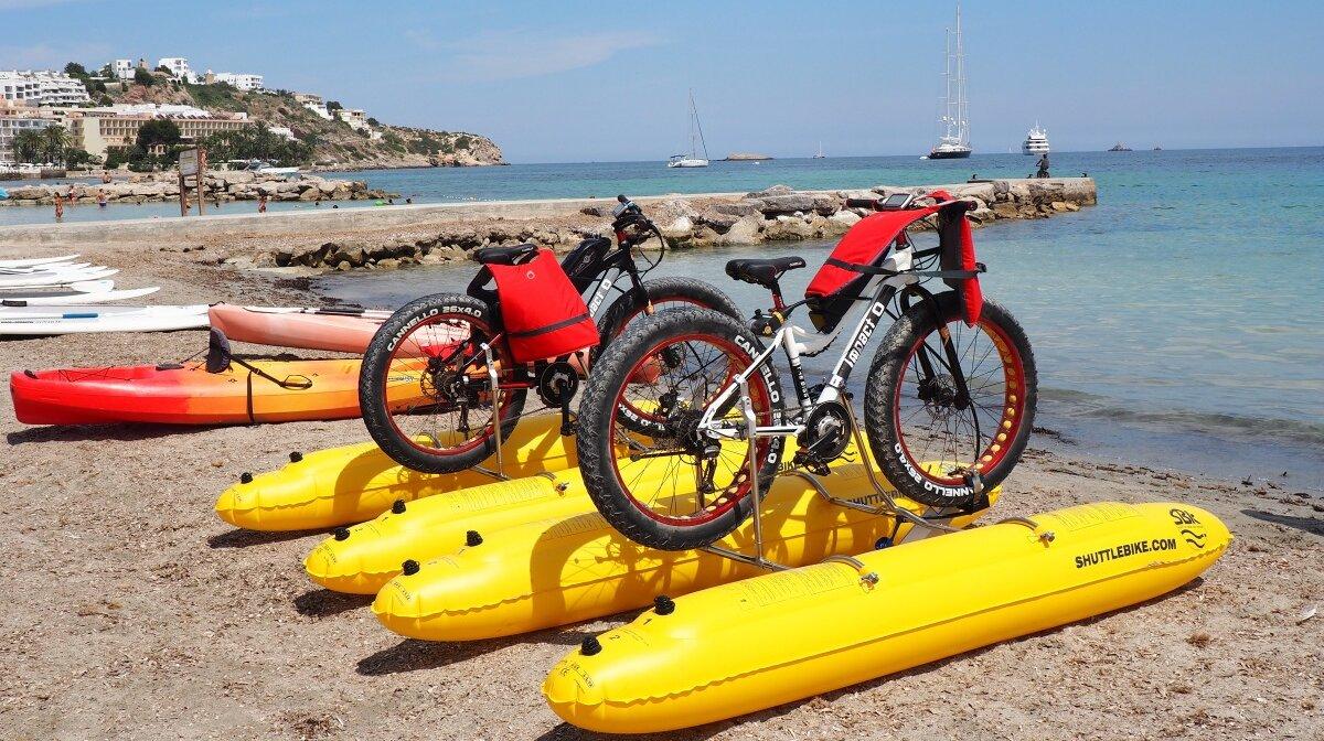 bike shuttles on figueretes beach near ibiza town