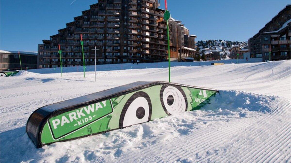 a kids snowpark feature in avoriaz