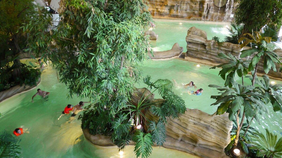 a view inside aquariaz waterpark in avoriaz