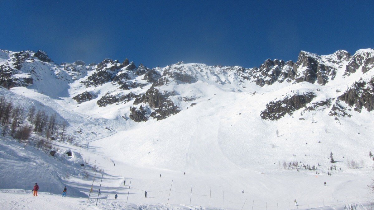 a ski area in chamonix with barely anyone on the pistes