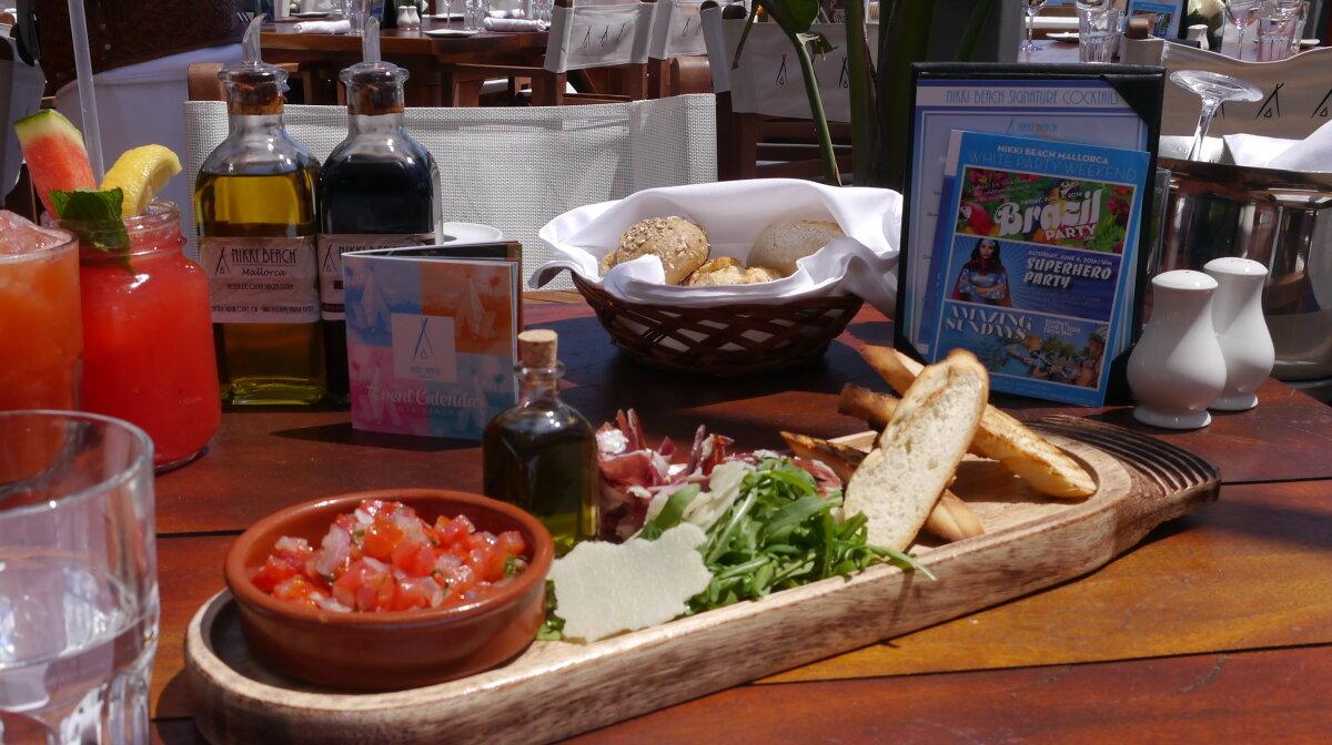 starter at the nikki beach club restaurant mallorca