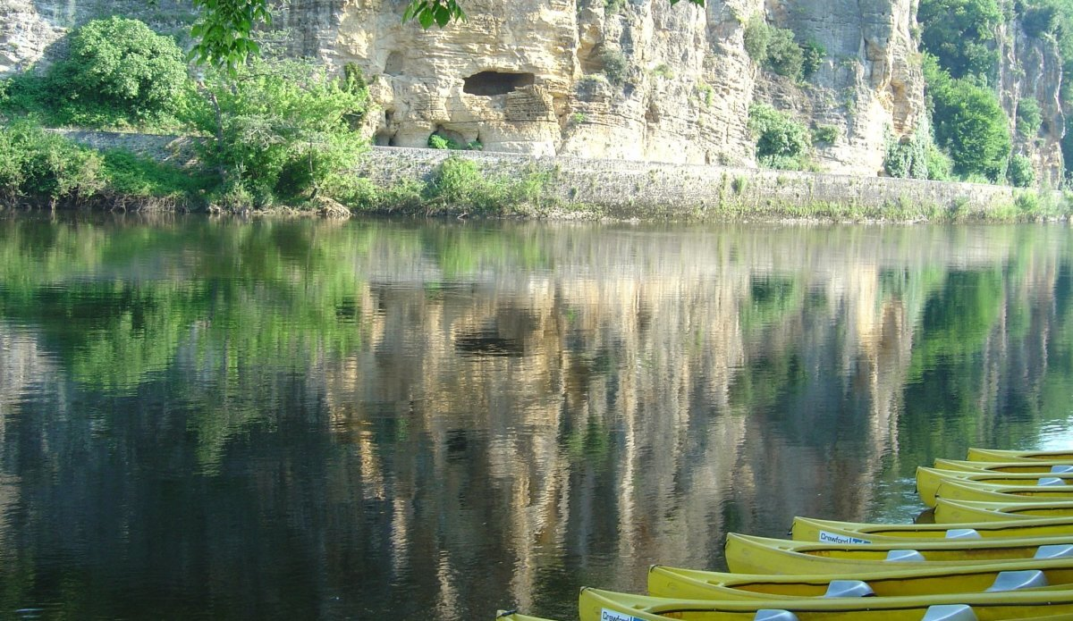 yellow canoes lined up on the river bank