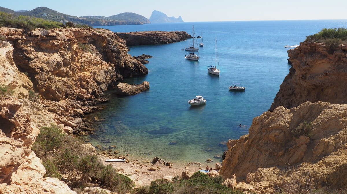 the small bay of cala llentia in west ibiza