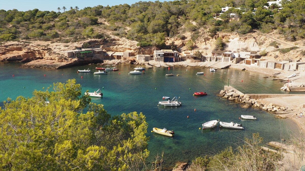 looking down onto cala corral in west ibiza