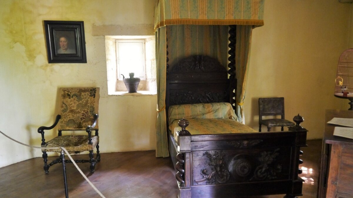the bedroom in the turret house at chateau de losse