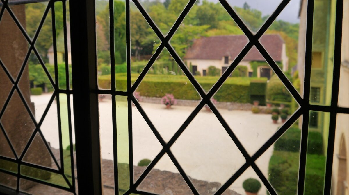 looking through one of the upper windows of the chateau