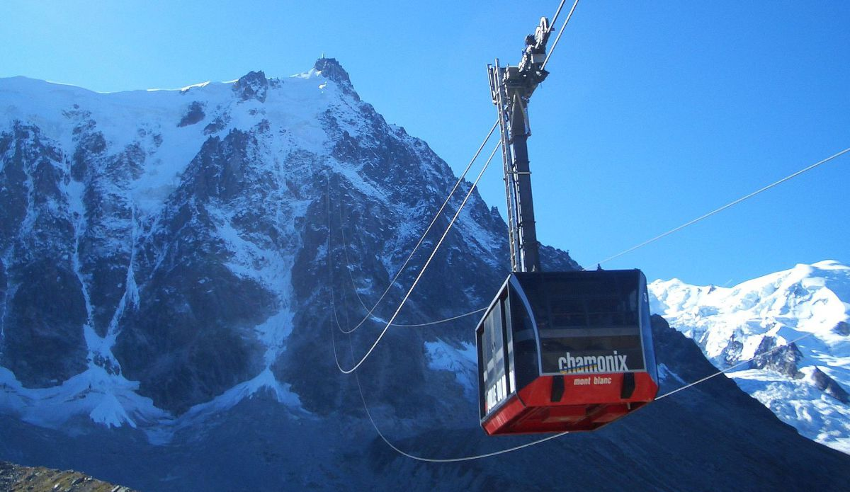 An image of the Aiguille du Midi cable car in Chamonix Mont Blanc