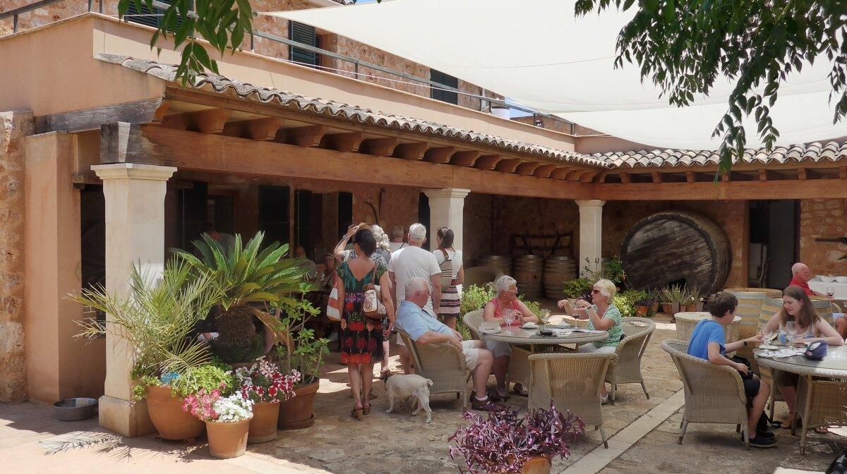 The courtyard wine tasting at bodegas angel mallorca