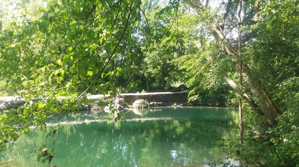 Swimming pool on the river ceze in provence
