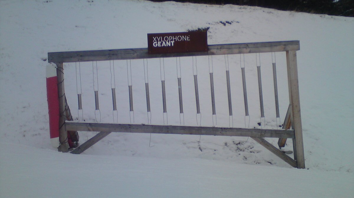a giant xylophone on the side of the pistes