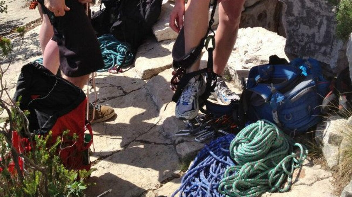 people getting ready to rock climb in the south of france