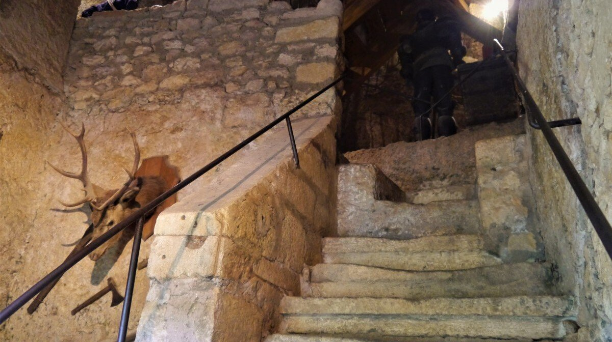 worn stone stairway inside the maison forte de reignac