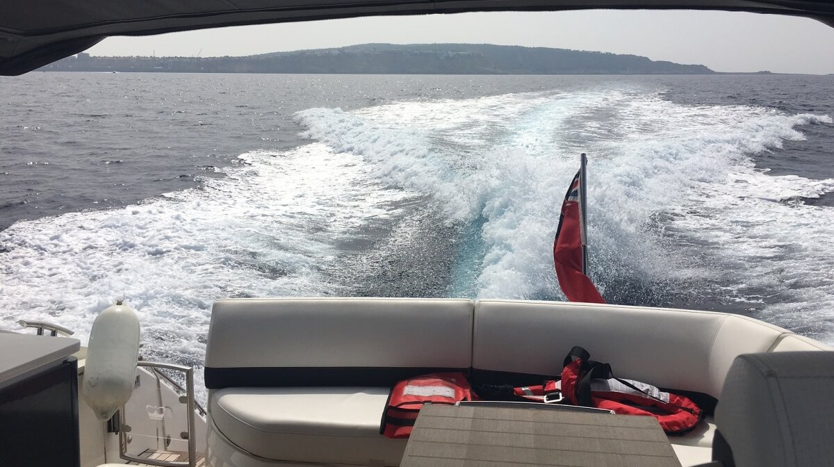 The wake behind the motor yacht in mallorca