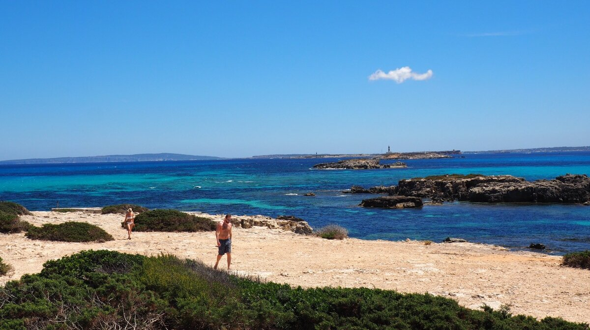 lookign from ibiza south coast over to formentera and the islands inbetween