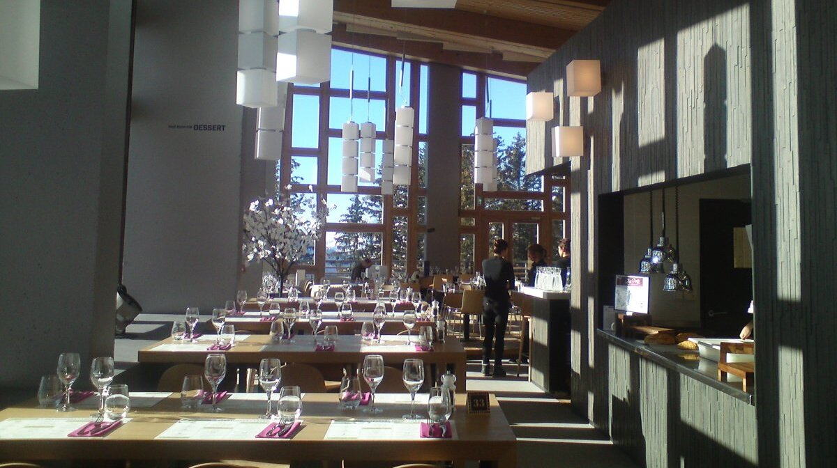 inside a restaurant in les arcs