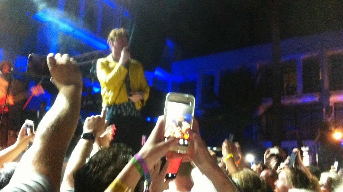 Ricky in his yellow leather jacket at ibiza rocks in san antonio