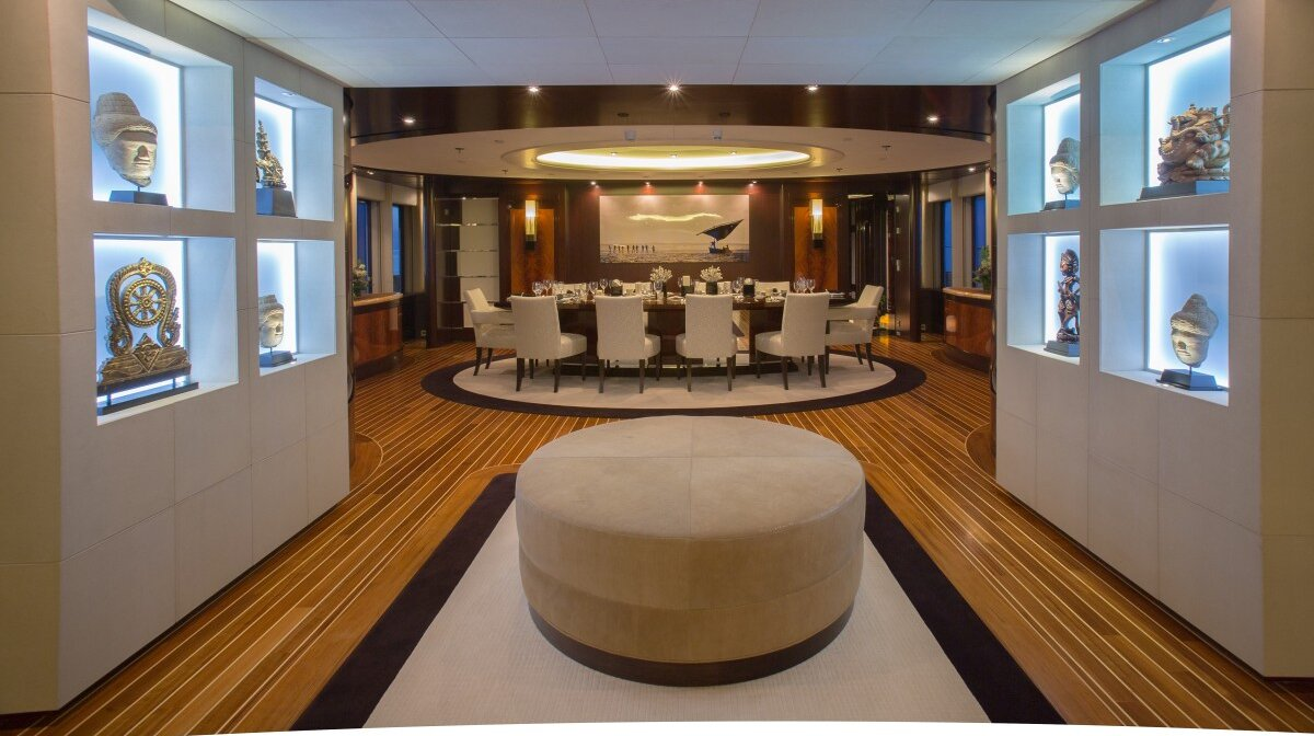 dining room of a yacht