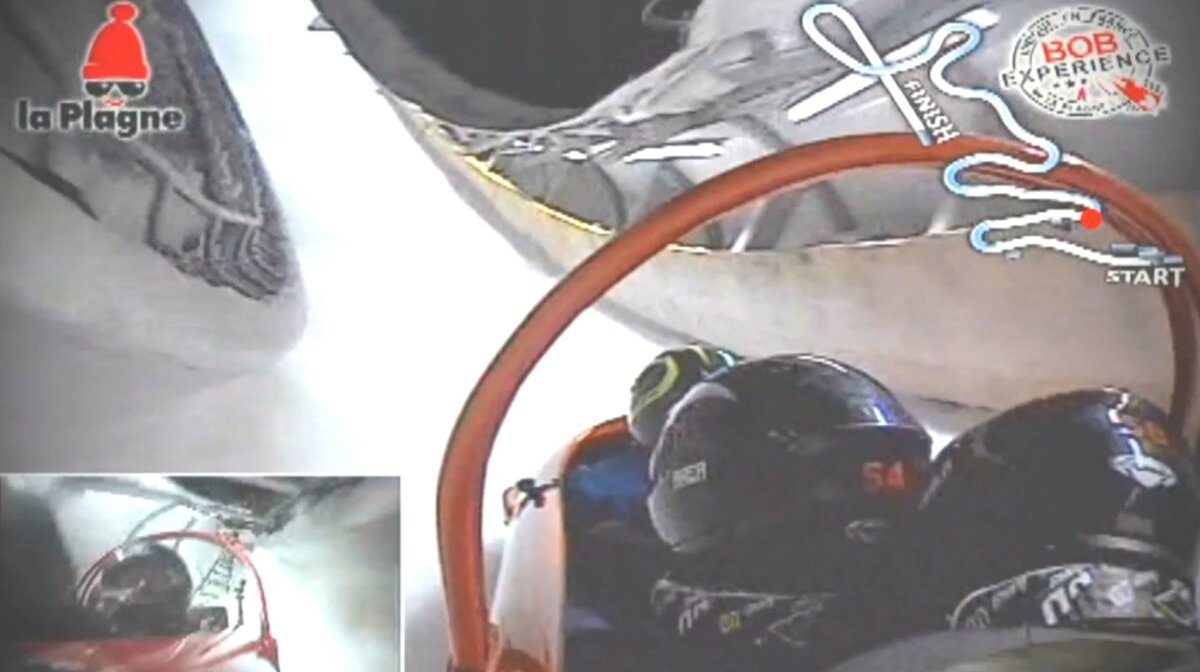 on track in a bobsleigh