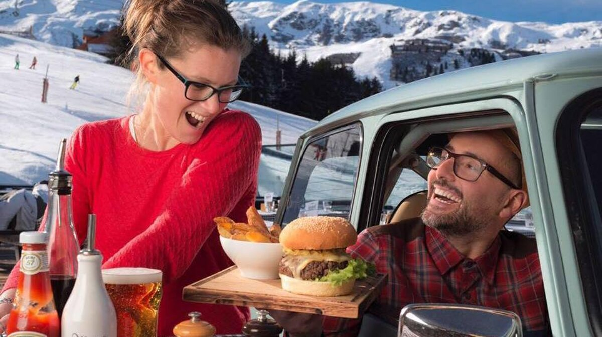 Burgers at Rond Point in Meribel