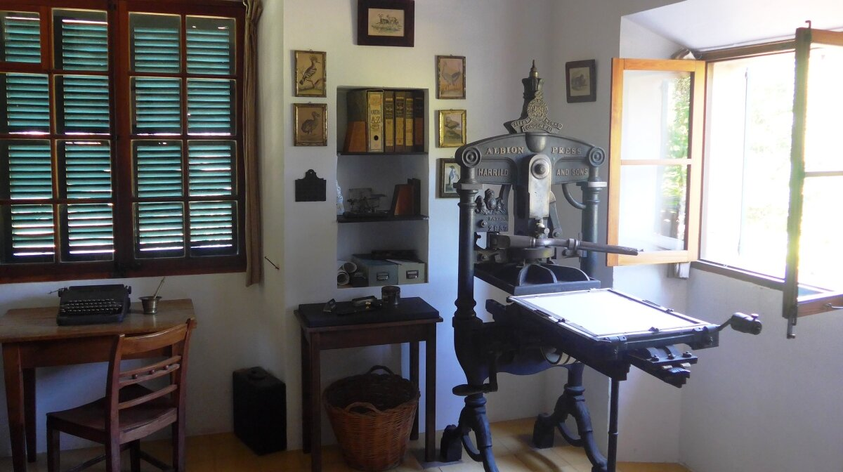 a printing press in a house