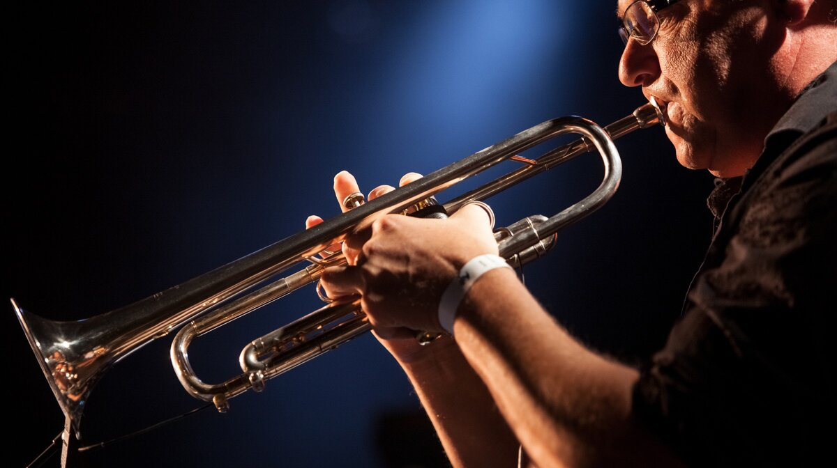 a jazz player with a trumbone