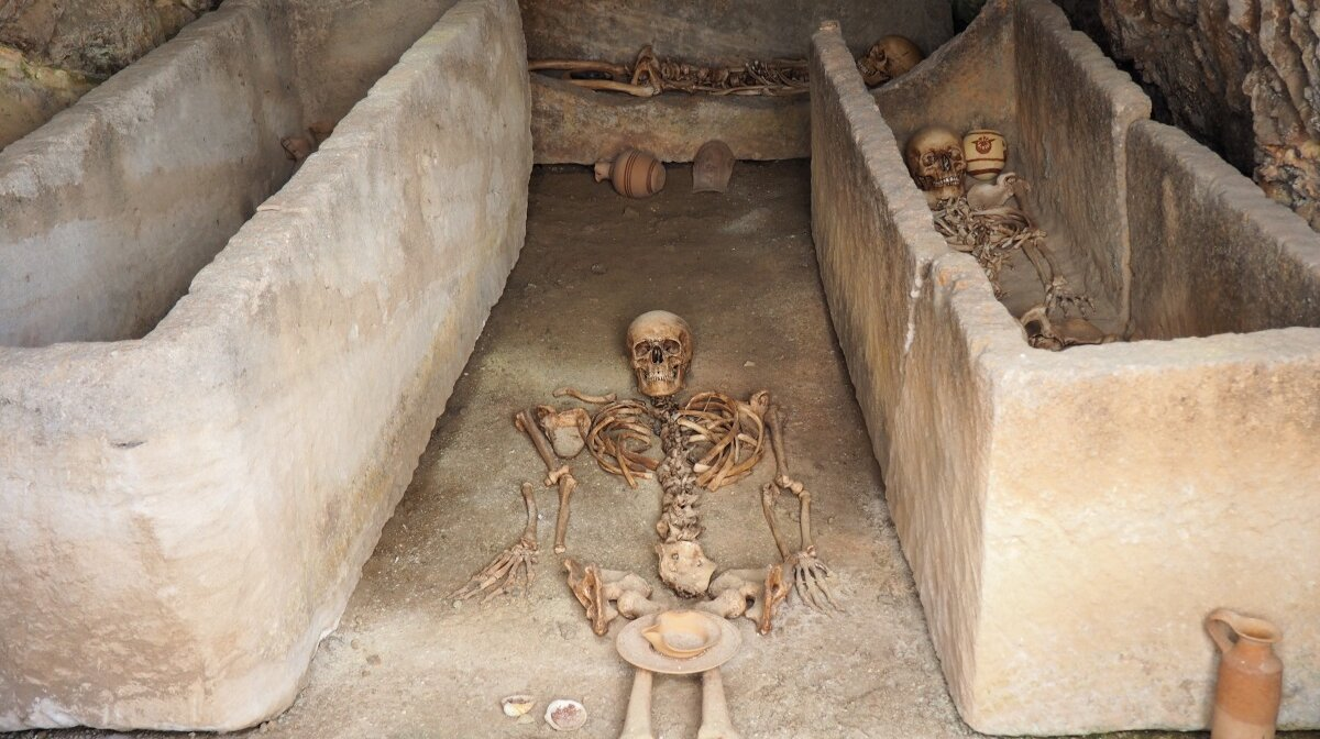burial chamber and skeletons from Puig des Molins in Ibiza Town