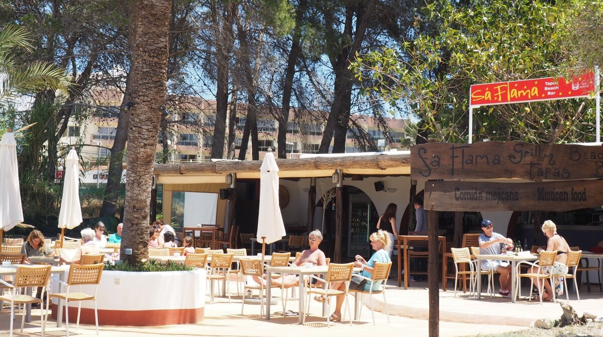 Sa Flama restaurant on S'estanyol beach near san antonio ibiza